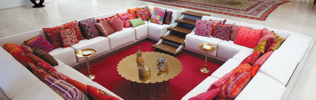 Miller house conversation pit red pillows